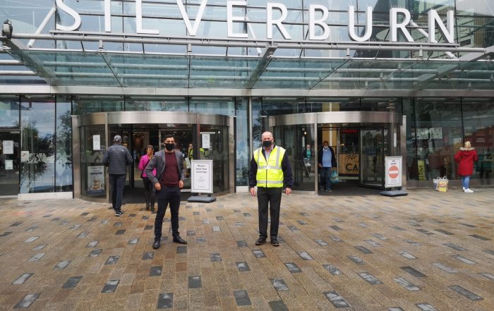 Humza Yousaf outside Silverburn during the COVID pandemic